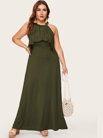 Plus Button Keyhole Back Ruffle Maxi Dress
