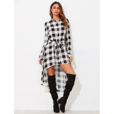 Tie Waist High Low Longline Check Blouse