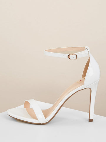 Patent Open Toe Buckled Ankle Stiletto Sandals