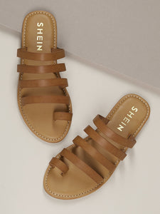 Top Loop Multi Strap Slide On Flat Sandals