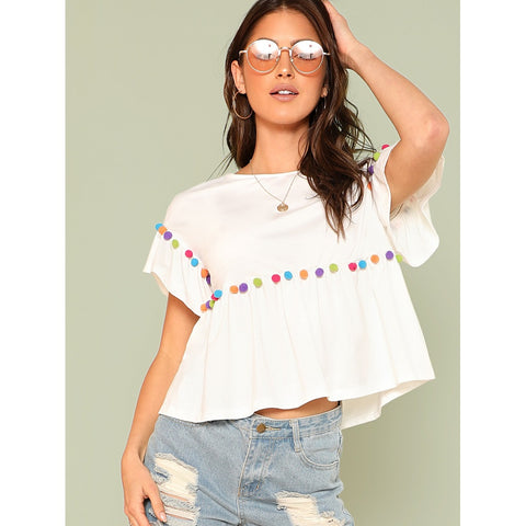 Pompom Embellished Smock Top