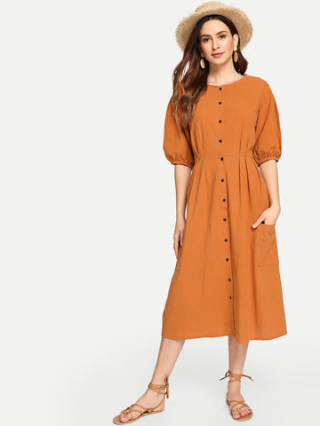 Button Through Patch Pocket Midi Dress