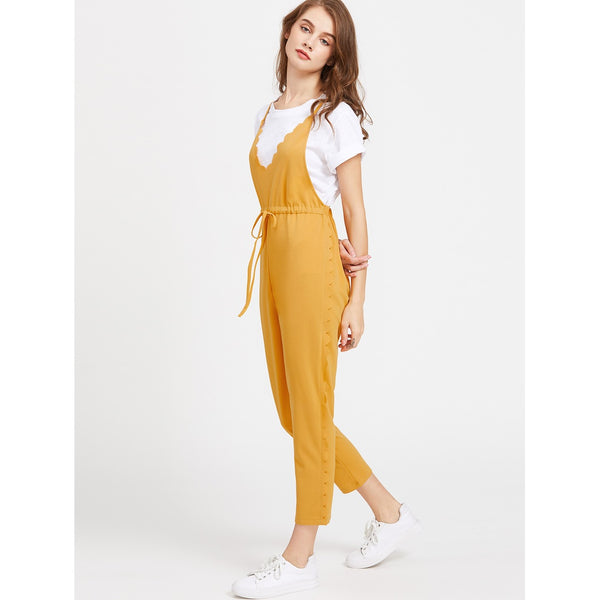 Criss Cross Back Scallop Trim Drawstring Waist Jumpsuit - Anabella's