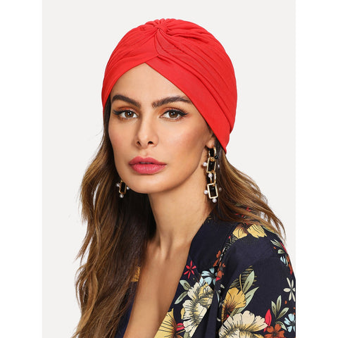 Pleated Plain Turban Hat Red