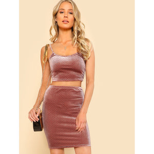 Crop Velvet Cami & Bodycon Skirt Co-Ord
