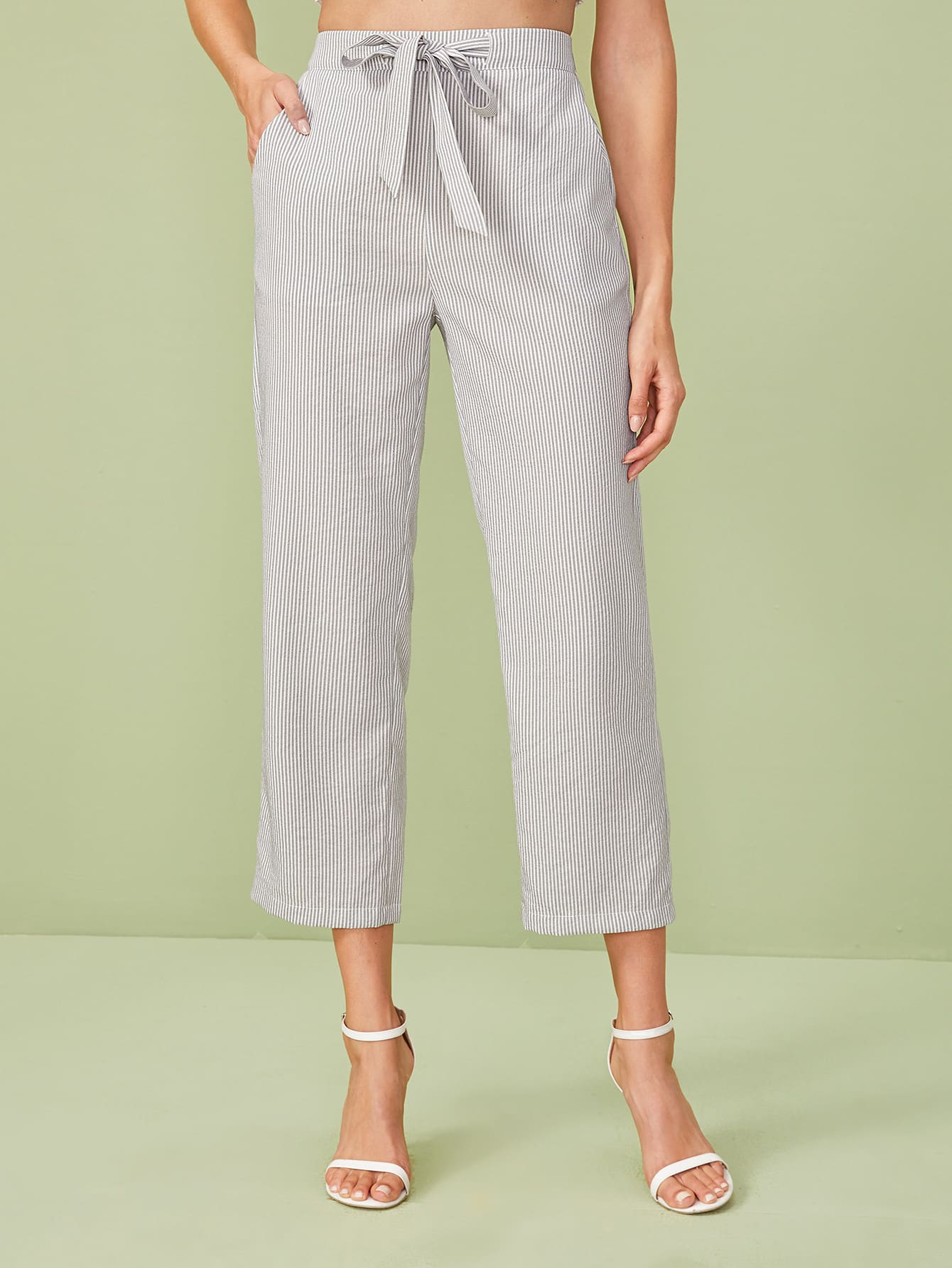 Tie Front Vertical-Striped Pants