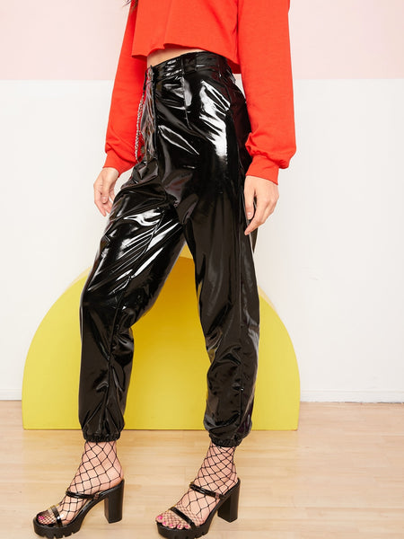 PU Leather Pants With Chain