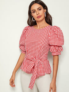 Puff Sleeve Gingham Print Self Belted Top