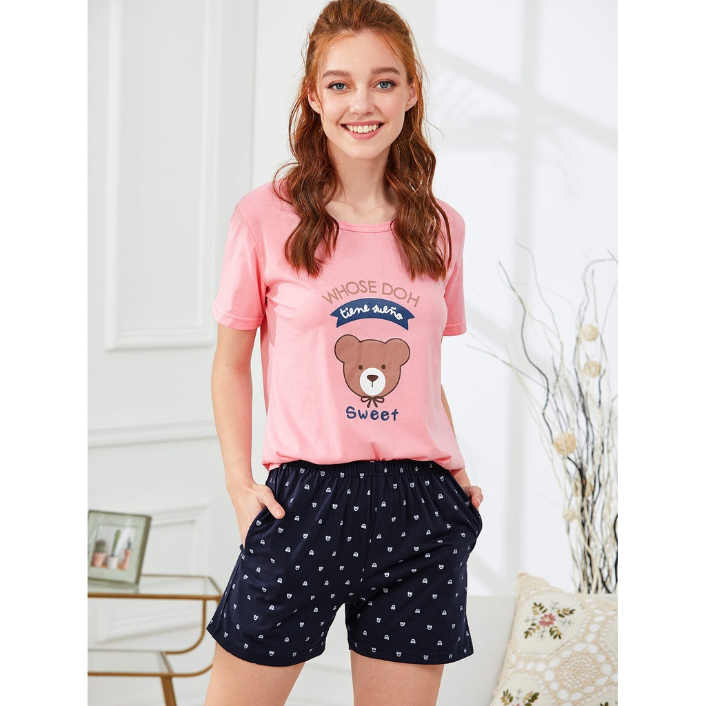 Bear Print Tee & Shorts PJ Set PINK