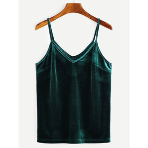 Velvet Cami Top Green