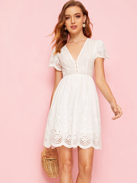 V-neck Empire Waist Flare Schiffy Dress