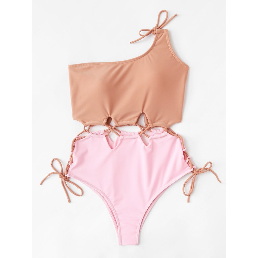 One Shoulder Drawstring Swimsuit