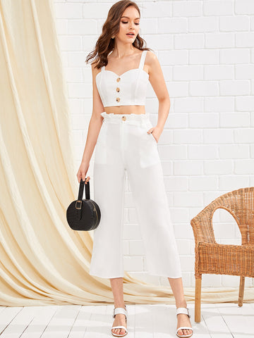 Button Front Crop Straps Top With Paper Bag Pants