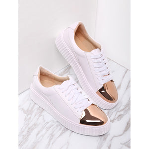 White Contrast Round Toe Rubber Sole Sneakers - Anabella's