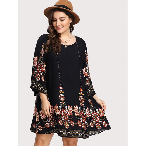 Tribal Flower Print Tunic Dress BLACK - Anabella's