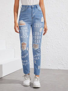 Slogan Print Raw Hem Ripped Jeans