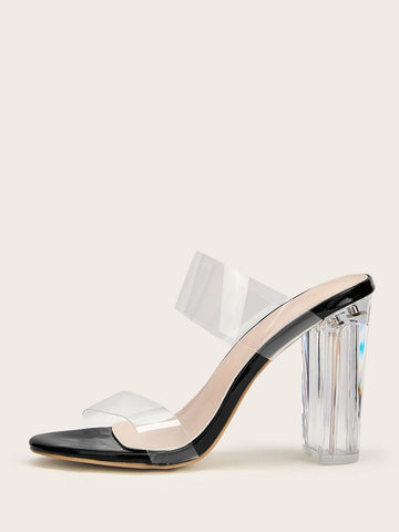 Two Part Transparent Mule Heels