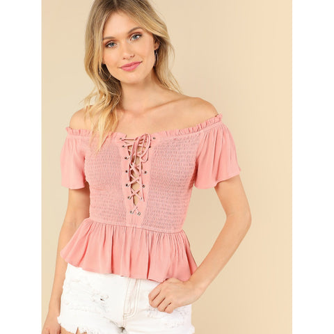 Lace Up Front Layered Ruffle Shirred Bardot Top