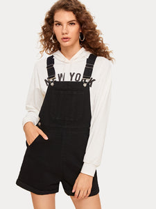 Solid Pocket Front Denim Overalls