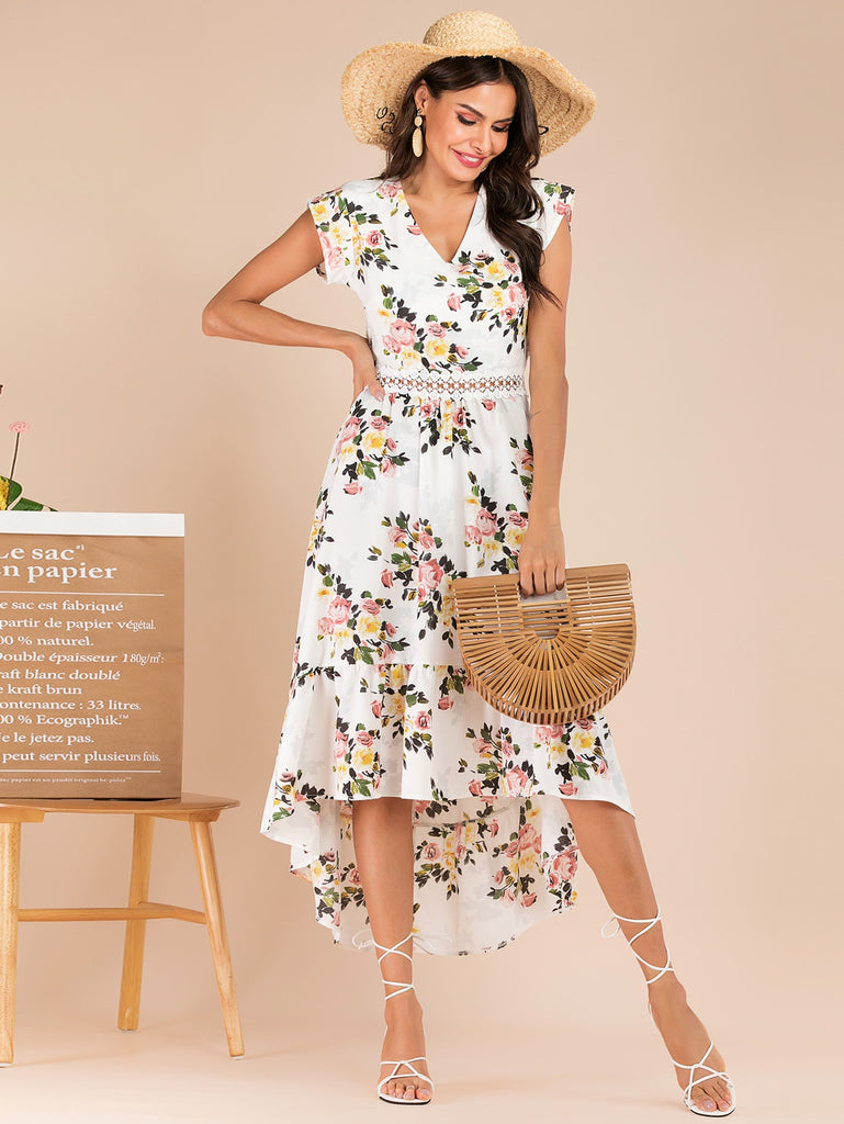 ed77c77e79 Floral Print Contrast Lace Backless Dress | Anabella's
