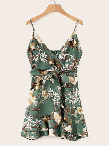 Ruffle Hem Self Tie Floral Print Cami Dress