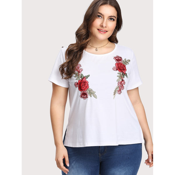 Embroidered Flower Applique T-shirt - Anabella's