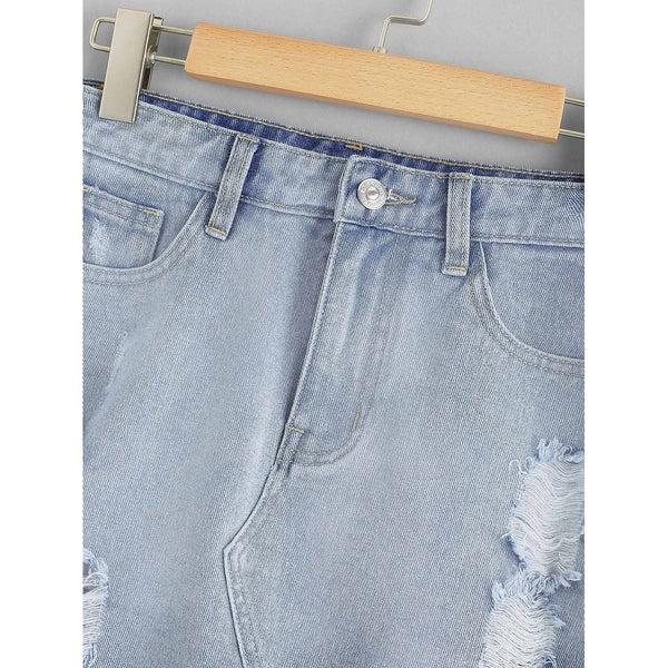 Lace Insert Ripped Denim Skirt