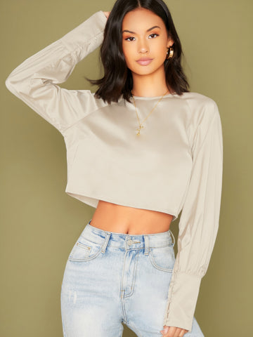 Back Keyhole Cuffed Sleeve Crop Blouse