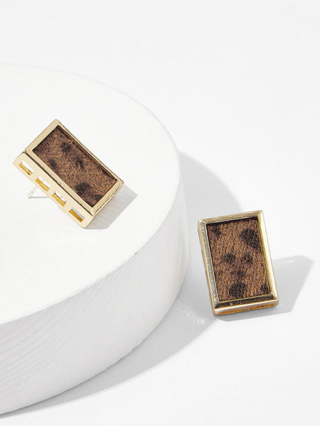 Leopard Pattern Rectangle Stud Earrings 1pair