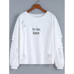 Cut-out Letter Print Sweatshirt