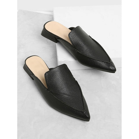 PU Pointed Toe Flat Mules Black