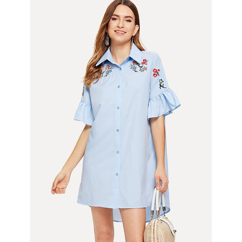 Ruffle Sleeve Embroidered Dip Hem Shirt Dress