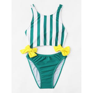 Striped Knot Swimsuit MULTICOLOR