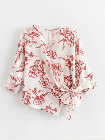 Floral Print Knot Side Blouse