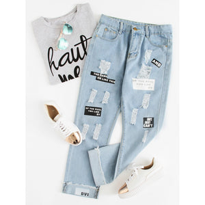 Letter Print Ripped Jeans