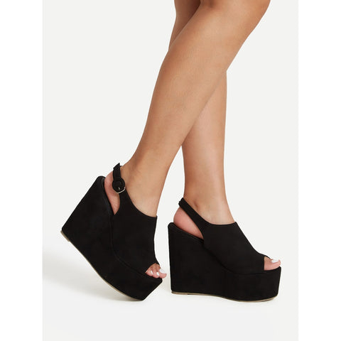 Platform Open Toe Heeled Wedges - Anabella's