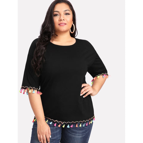 Colorful Fringe Trim Tee - Anabella's