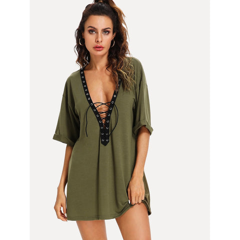 Lace Up Deep V Neck Dress