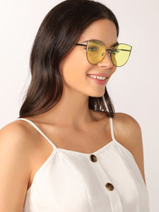 Rimless Oversized Color Detail Sunglasses