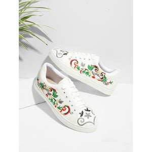 Embroidered Canvas Sneakers White