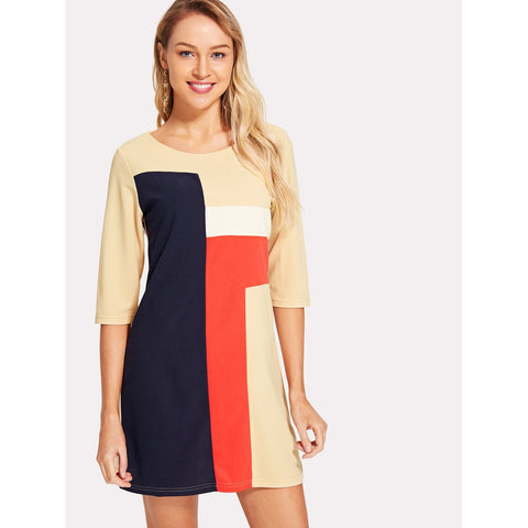Cut And Sew Tunic Dress Multicolor