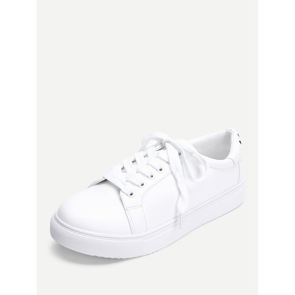 Eye Embroidery Lace Up Slip On Sneakers - Anabella's
