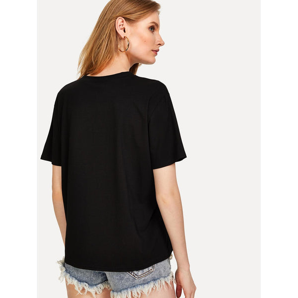 Sequin Letter Embellished T-shirt