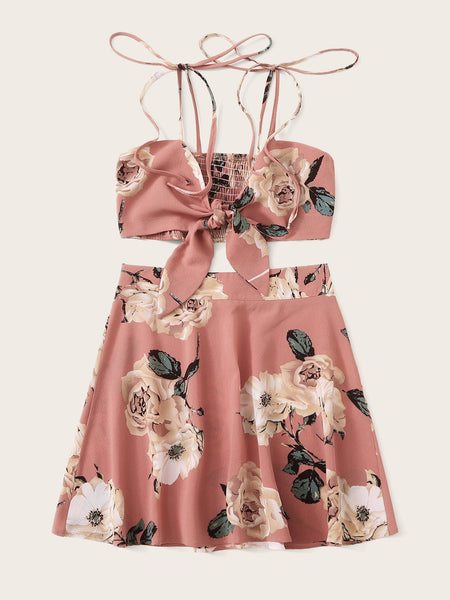 Floral Print Knot Shirred Cami Top With Zipper Skirt