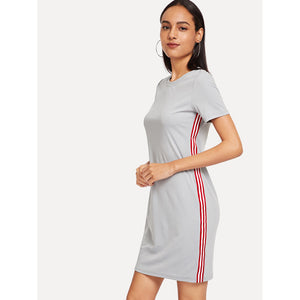 Striped Side Tee Dress