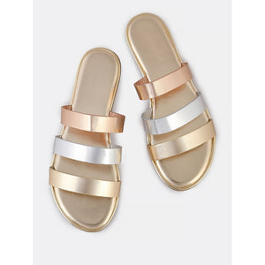 Metallic Multi Color 3 Strap Slip On Sandals GOLD - Anabella's