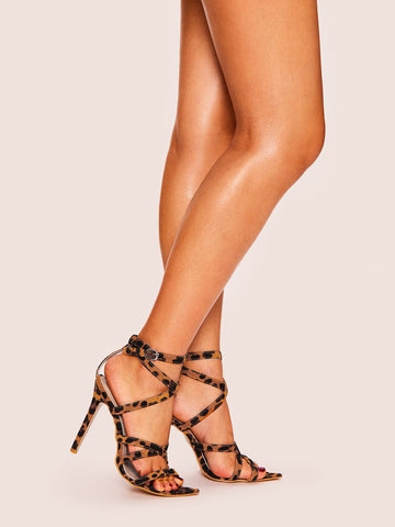 Leopard Pattern Criss Cross Stiletto Heels