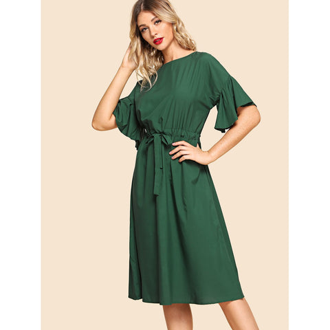 Drawstring Waist Solid Dress