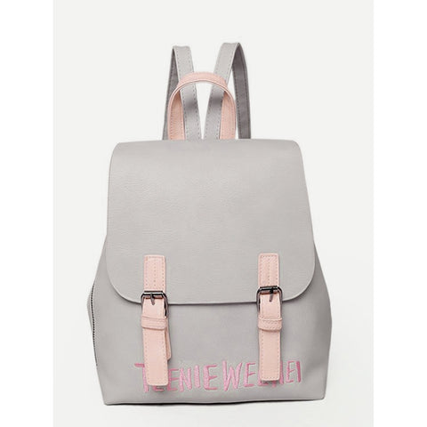 Double Buckle Letter Embroidered Backpack Grey