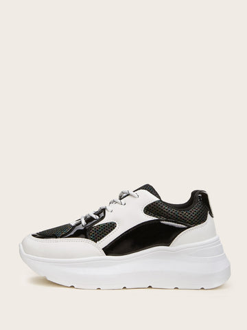 Lace-up Front Mesh Panel Chunky Sole Trainers